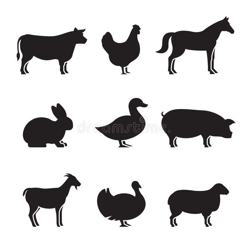 Εικονίδια σκιαγραφιών ζώων αγροκτημάτων καθορισμένα απεικόνιση αποθεμάτων