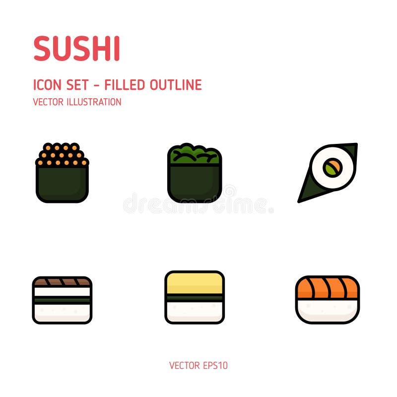 Εικονίδια σουσιών Διάνυσμα τροφίμων της Ιαπωνίας ελεύθερη απεικόνιση δικαιώματος