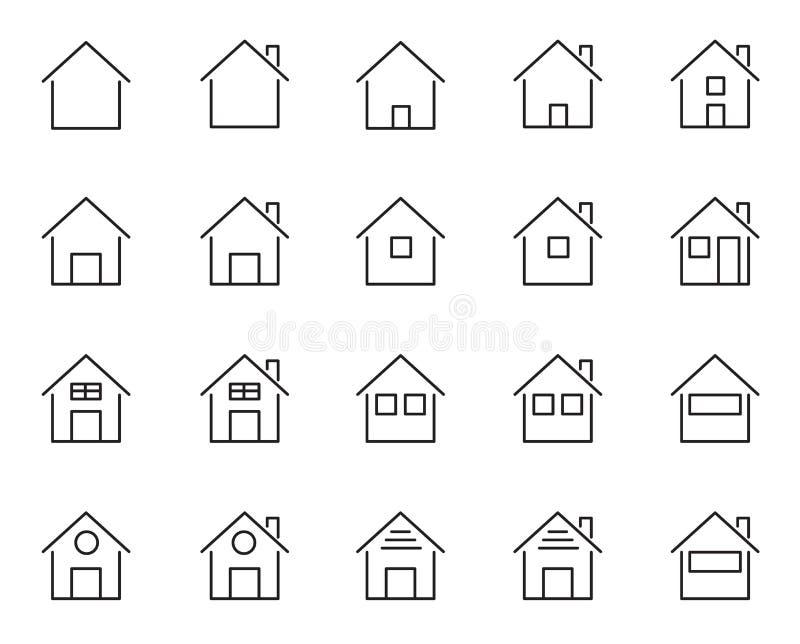 20 εικονίδια σπιτιών και σπιτιών καθορισμένα Διαβίωση του θέματος ανθρώπων Άσπρο απομονωμένο υπόβαθρο Σημάδι και έννοια συμβόλων  απεικόνιση αποθεμάτων