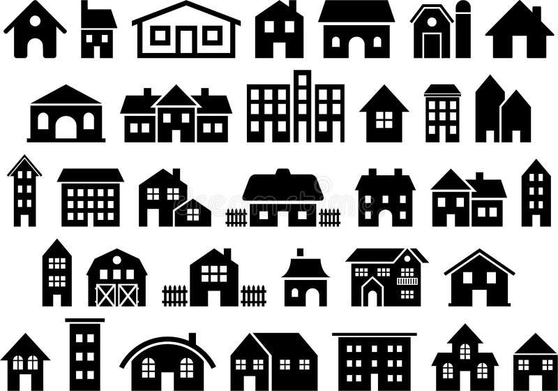 Εικονίδια σπιτιών και οικοδόμησης διανυσματική απεικόνιση