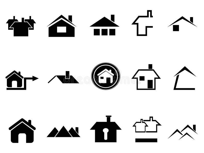 Εικονίδια σπιτιών που τίθενται ελεύθερη απεικόνιση δικαιώματος