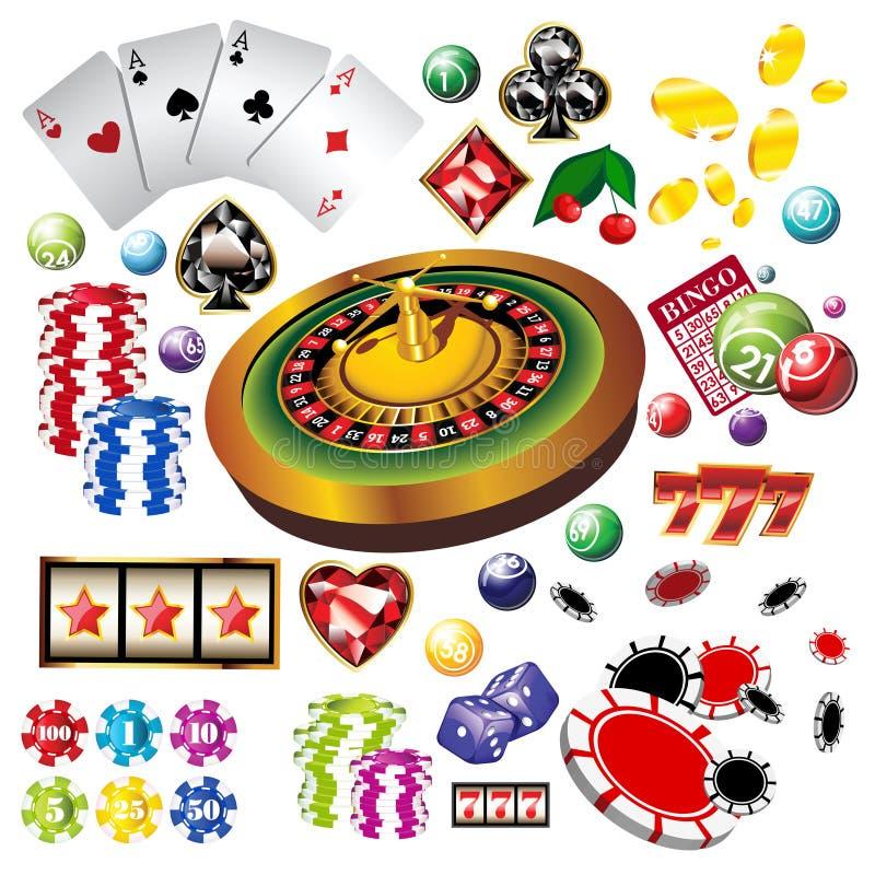 εικονίδια στοιχείων χαρτοπαικτικών λεσχών που τίθενται διανυσματικά στοκ εικόνες