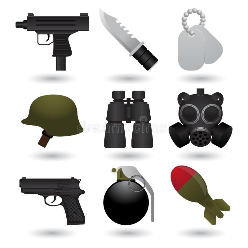 εικονίδια στρατού διανυσματική απεικόνιση