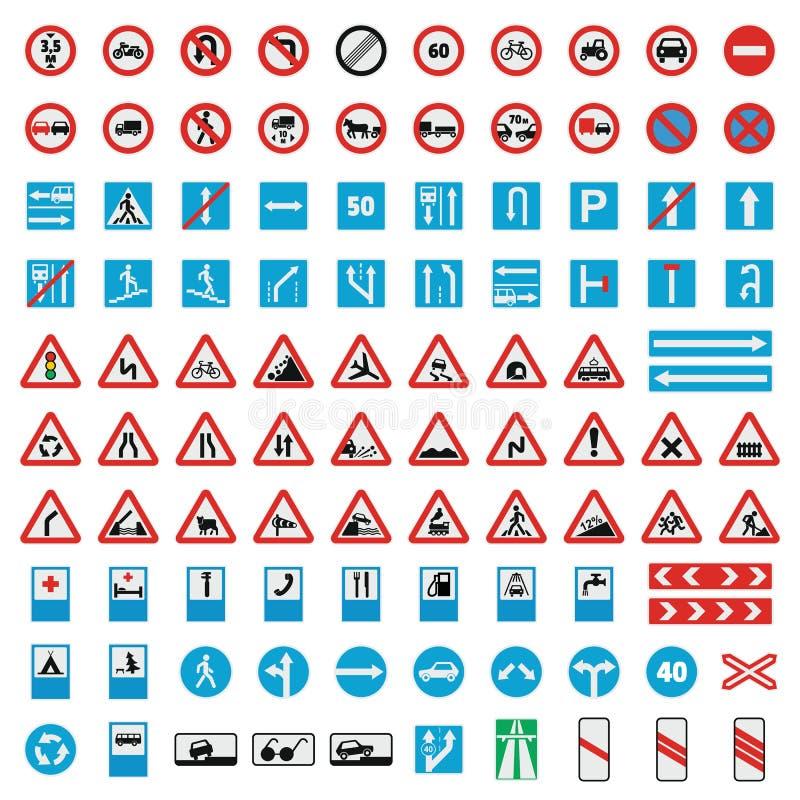 Εικονίδια συλλογής οδικών σημαδιών κυκλοφορίας καθορισμένα, επίπεδο ύφος διανυσματική απεικόνιση