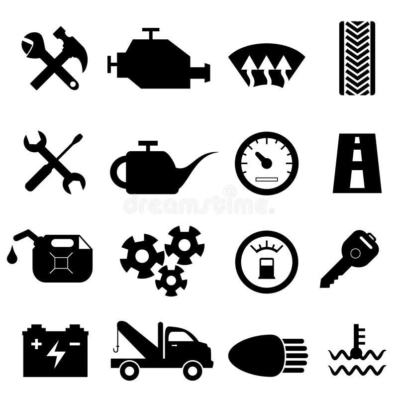 Εικονίδια συντήρησης και επισκευής αυτοκινήτων απεικόνιση αποθεμάτων