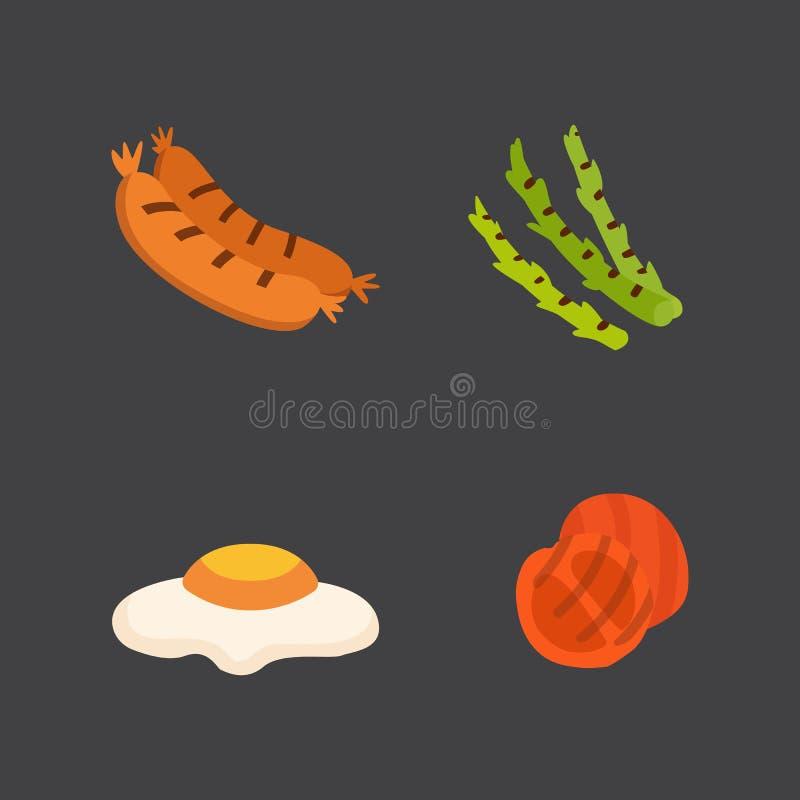Εικονίδια σχαρών καθορισμένα Τρόφιμα σχαρών, bbq, ψητό, διανυσματική απεικόνιση κινούμενων σχεδίων μπριζόλας απεικόνιση αποθεμάτων