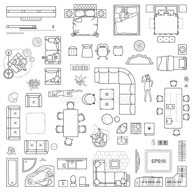 Εικονίδια σχεδίων ορόφων που τίθενται για την εσωτερική και αρχιτεκτονική άποψη προγράμματος σχεδίου άνωθεν Λεπτό εικονίδιο γραμμ απεικόνιση αποθεμάτων