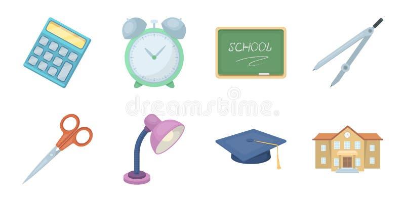 Εικονίδια σχολείου και εκπαίδευσης στην καθορισμένη συλλογή για το σχέδιο Διανυσματικός Ιστός αποθεμάτων κολλεγίου, εξοπλισμού κα απεικόνιση αποθεμάτων