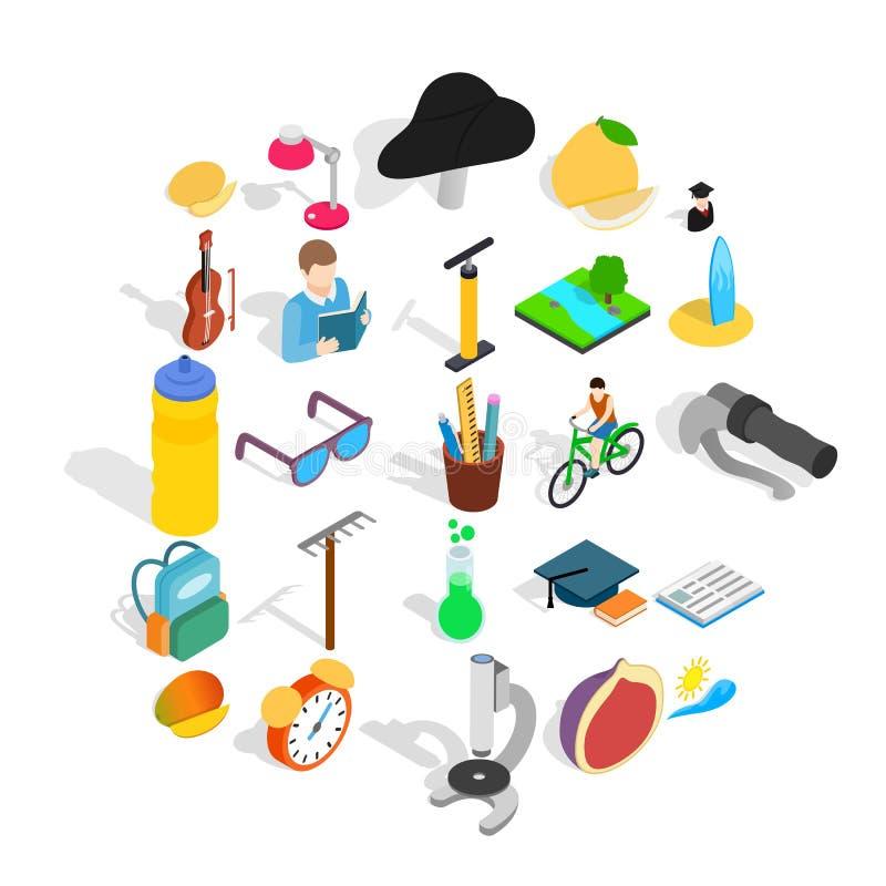 Εικονίδια σχολικής ανατροφής καθορισμένα, isometric ύφος ελεύθερη απεικόνιση δικαιώματος
