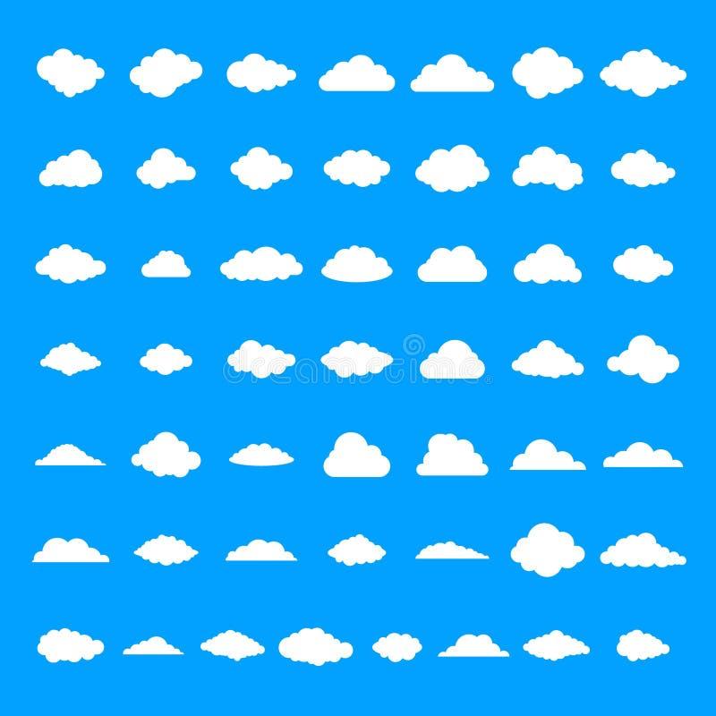 Εικονίδια σύννεφων καθορισμένα, απλό ύφος διανυσματική απεικόνιση