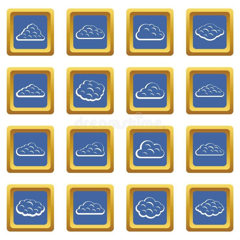 Εικονίδια σύννεφων καθορισμένα μπλε ελεύθερη απεικόνιση δικαιώματος