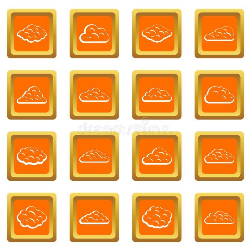 Εικονίδια σύννεφων καθορισμένα πορτοκαλιά ελεύθερη απεικόνιση δικαιώματος