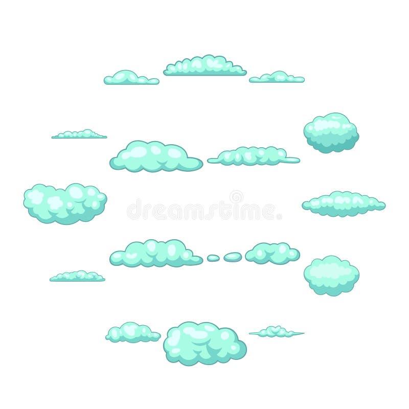 Εικονίδια σύννεφων καθορισμένα, ύφος κινούμενων σχεδίων απεικόνιση αποθεμάτων