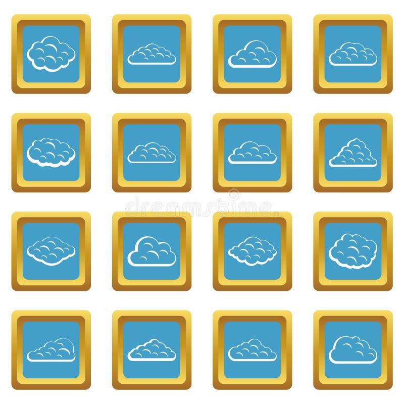 Εικονίδια σύννεφων κυανά ελεύθερη απεικόνιση δικαιώματος