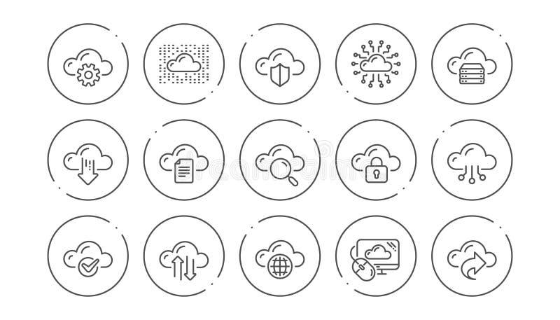 Εικονίδια σύννεφων υπολογιστών Φιλοξενία, στοιχεία υπολογισμού και αποθήκευση αρχείων r r ελεύθερη απεικόνιση δικαιώματος