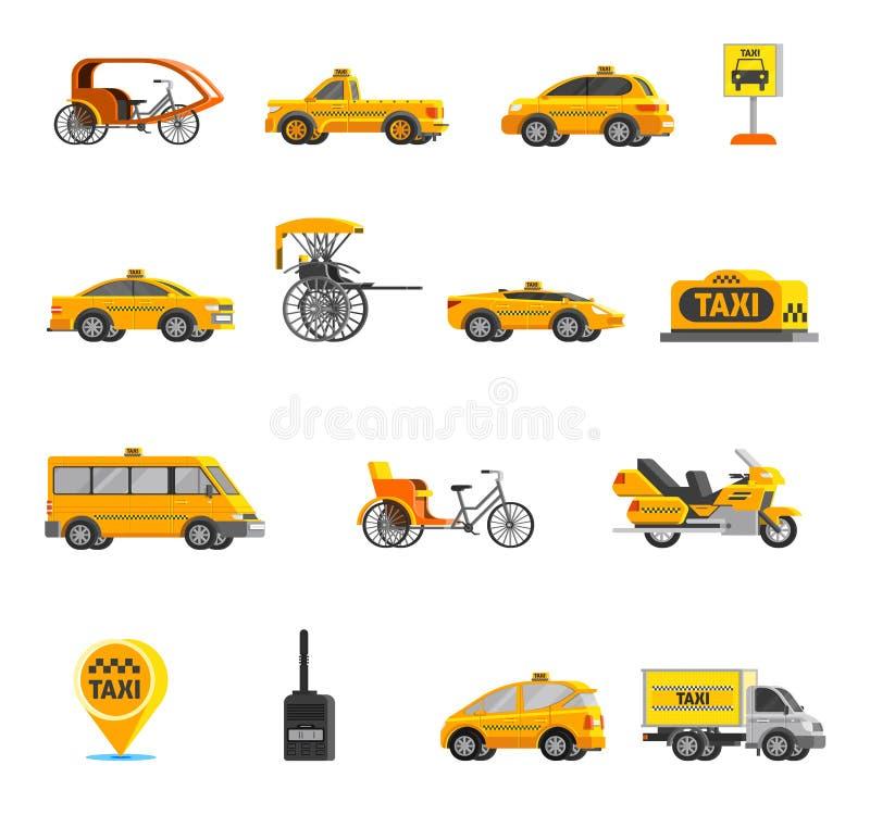 Εικονίδια ταξί καθορισμένα ελεύθερη απεικόνιση δικαιώματος