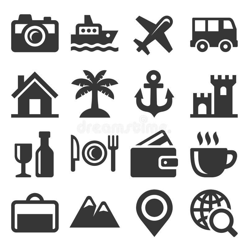 Εικονίδια ταξιδιού και μεταφορών καθορισμένα διάνυσμα ελεύθερη απεικόνιση δικαιώματος