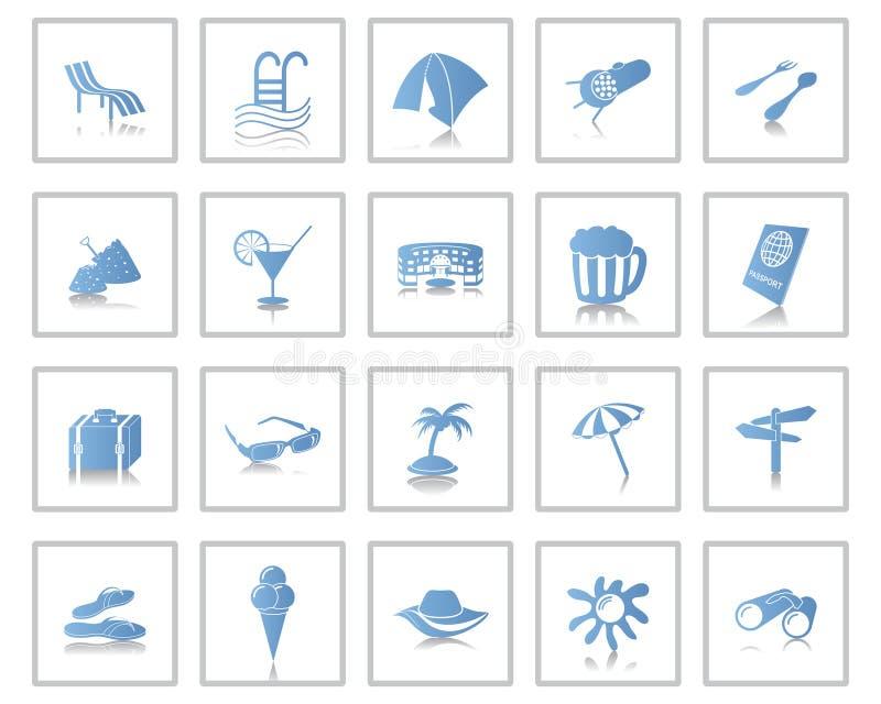 Εικονίδια ταξιδιού που τίθενται διανυσματική απεικόνιση