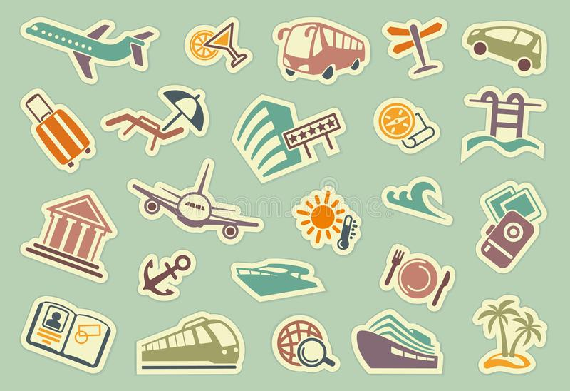 Εικονίδια ταξιδιού στις αυτοκόλλητες ετικέττες διανυσματική απεικόνιση