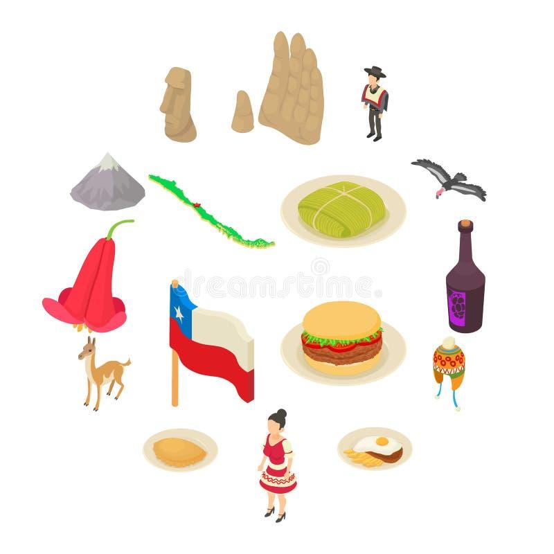 Εικονίδια ταξιδιού της Χιλής καθορισμένα, isometric ύφος απεικόνιση αποθεμάτων