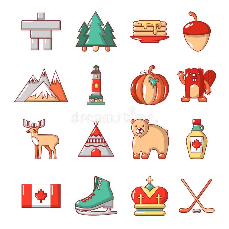 Εικονίδια ταξιδιού του Καναδά καθορισμένα, ύφος κινούμενων σχεδίων ελεύθερη απεικόνιση δικαιώματος