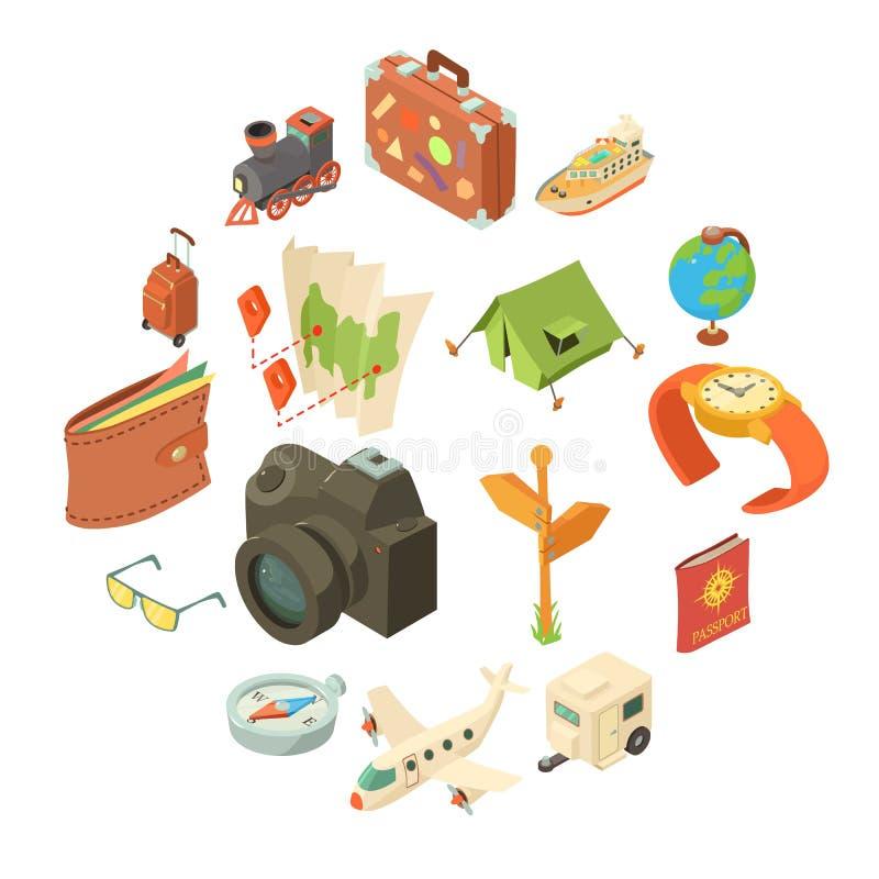 Εικονίδια ταξιδιών ταξιδιού καθορισμένα, isometric ύφος ελεύθερη απεικόνιση δικαιώματος