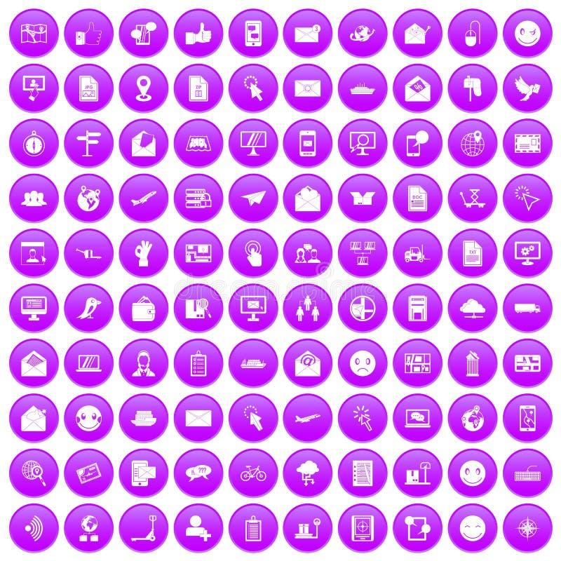 100 εικονίδια ταχυδρομείου καθορισμένα πορφυρά διανυσματική απεικόνιση