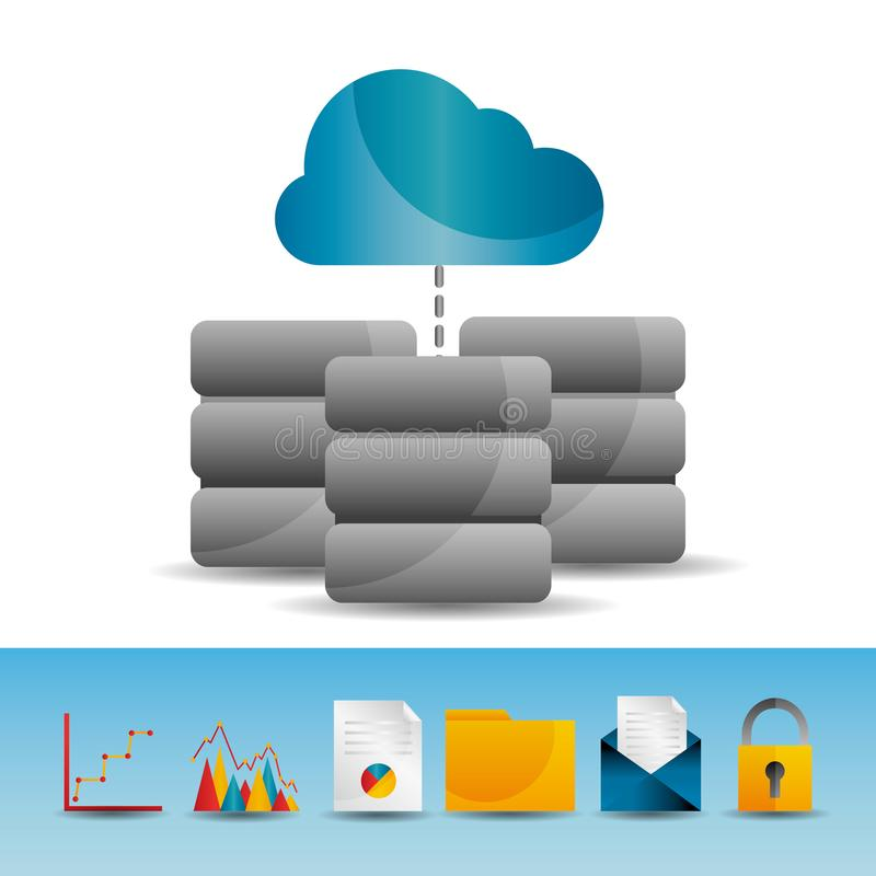 Εικονίδια τεχνολογίας βάσεων κεντρικών υπολογιστών στοιχείων υπολογισμού σύννεφων διανυσματική απεικόνιση