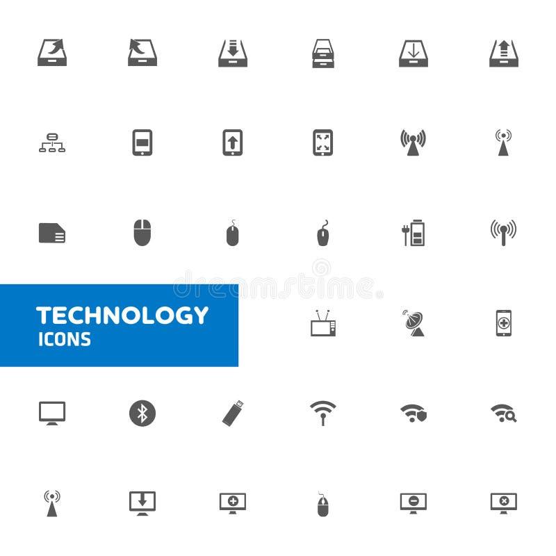 Εικονίδια τεχνολογίας καθορισμένα διανυσματικά διανυσματική απεικόνιση