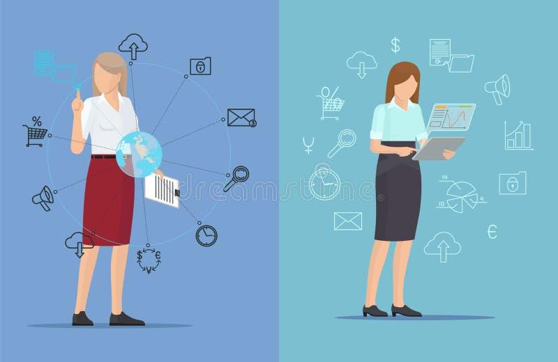 Εικονίδια τεχνολογίας και πολυάσχολες γυναίκες, δύο ζωηρόχρωμες αφίσες διανυσματική απεικόνιση