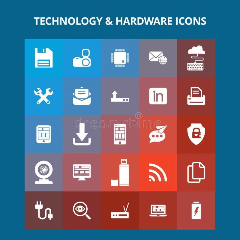 Εικονίδια τεχνολογίας και υλικού διανυσματική απεικόνιση
