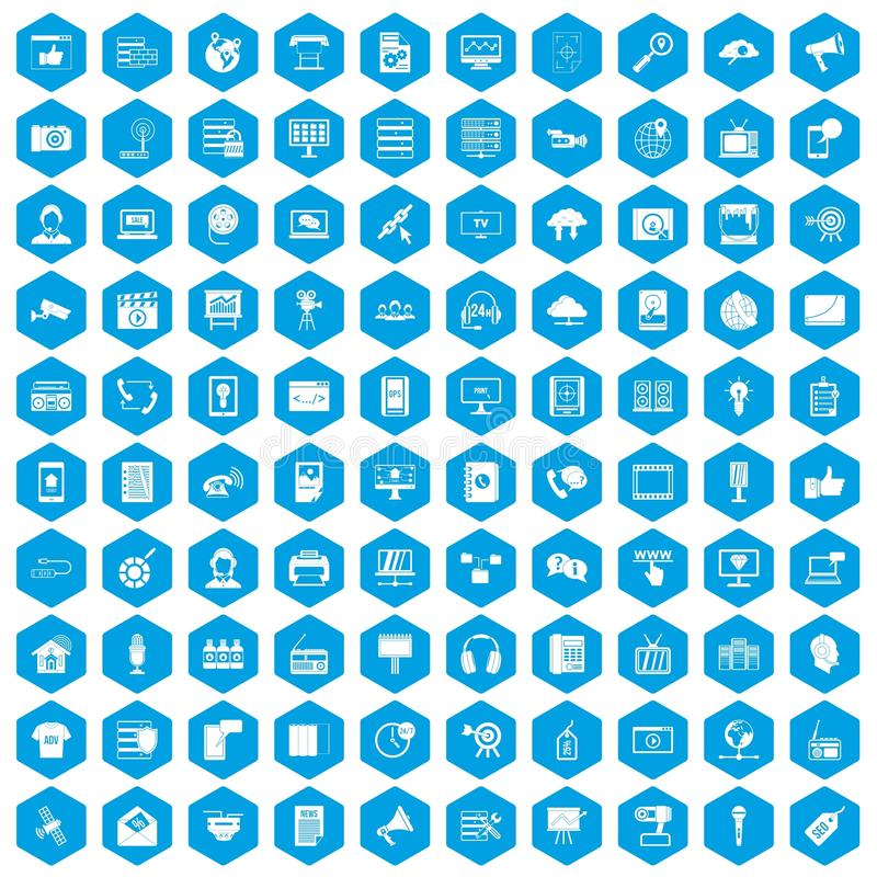 100 εικονίδια τεχνολογίας πληροφοριών καθορισμένα μπλε ελεύθερη απεικόνιση δικαιώματος