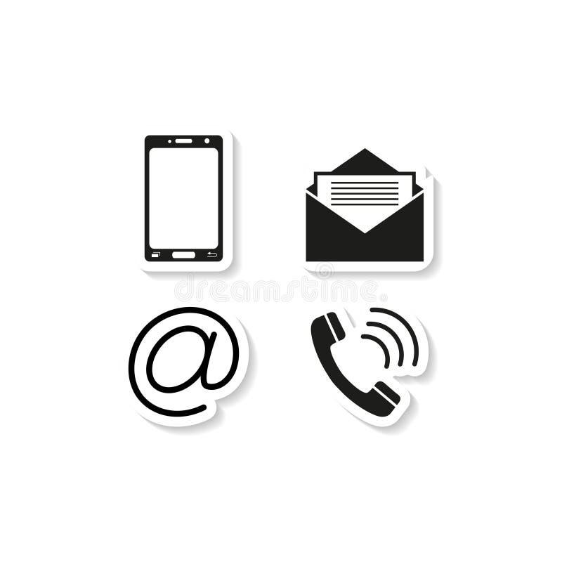 Εικονίδια τηλεφωνικών αυτοκόλλητων ετικεττών επαφών διανυσματική απεικόνιση