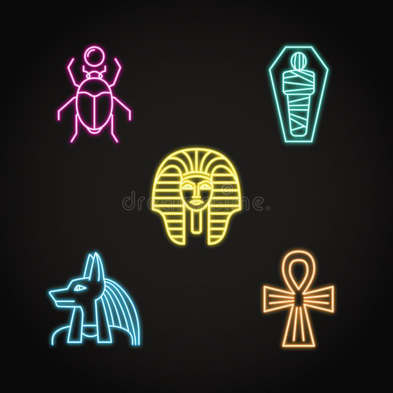 Εικονίδια της Αιγύπτου που τίθενται στο ύφος γραμμών νέου απεικόνιση αποθεμάτων