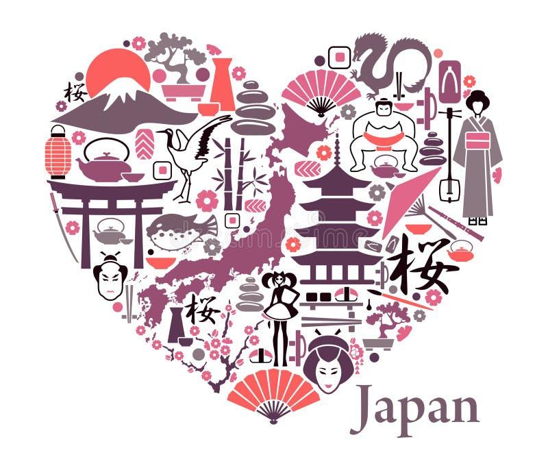 Εικονίδια της Ιαπωνίας υπό μορφή καρδιάς απεικόνιση αποθεμάτων