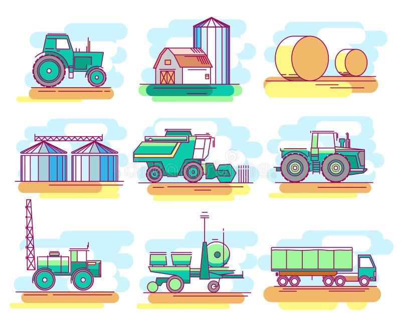 Εικονίδια της καλλιέργειας και της ανάπτυξης του σιταριού ελεύθερη απεικόνιση δικαιώματος