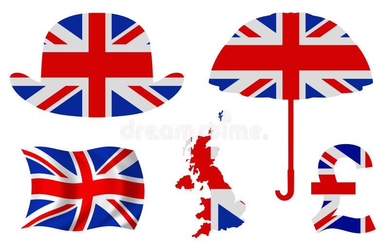 Εικονίδια της Μεγάλης Βρετανίας διανυσματική απεικόνιση