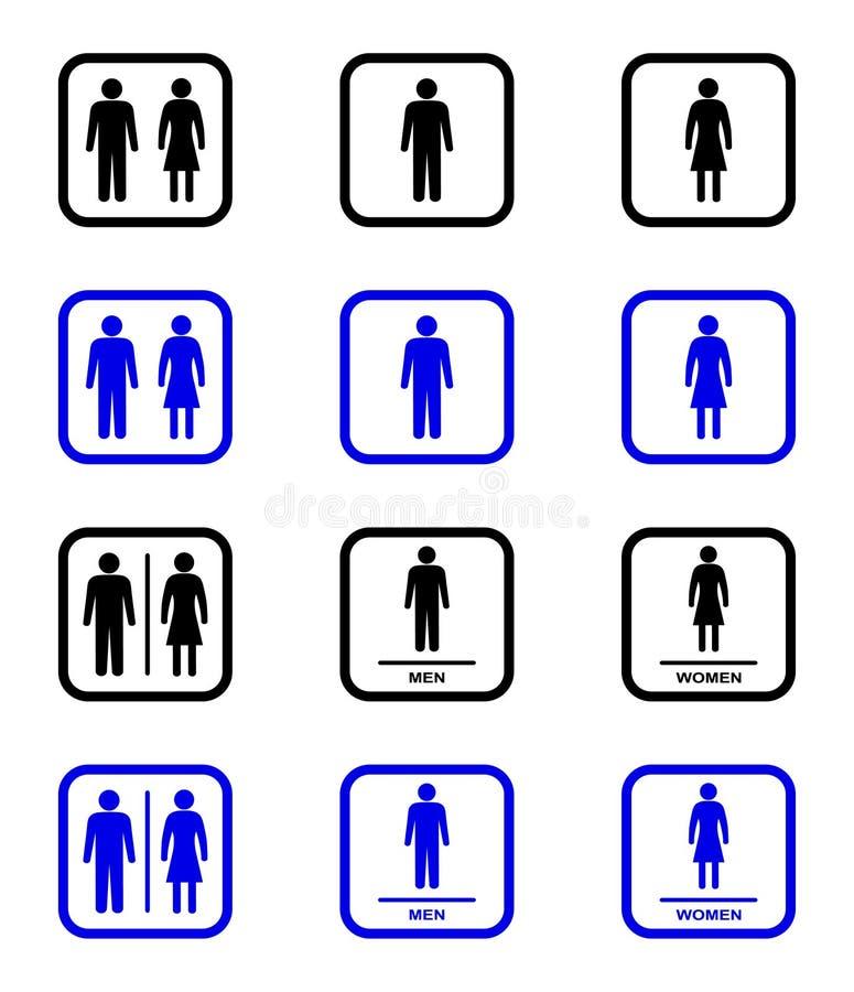 Εικονίδια τουαλετών ελεύθερη απεικόνιση δικαιώματος