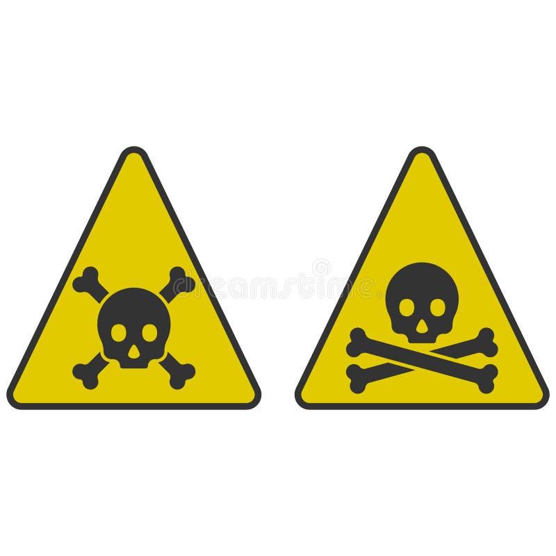 Εικονίδια του κινδύνου - ένα κρανίο με τα κόκκαλα σε ένα τρίγωνο σε ένα κίτρινο υπόβαθρο Διανυσματική απεικόνιση σε ένα άσπρο υπό απεικόνιση αποθεμάτων