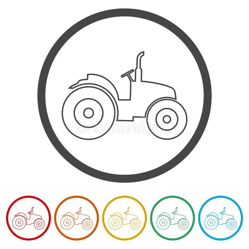 Εικονίδια τρακτέρ καθορισμένα, 6 χρώματα συμπεριλαμβανόμενα ελεύθερη απεικόνιση δικαιώματος
