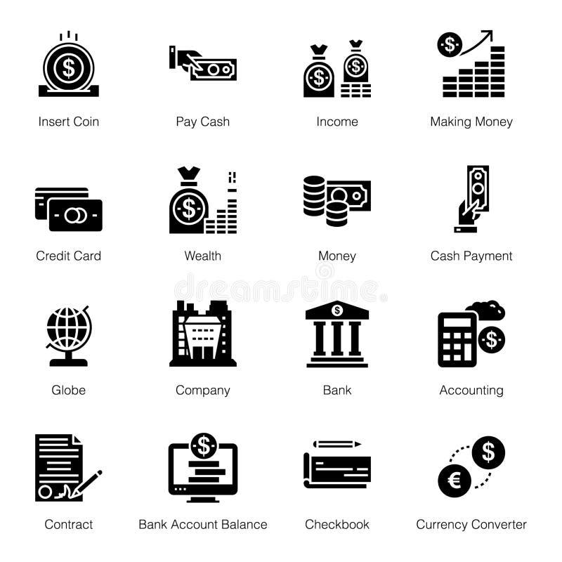 Εικονίδια τραπεζικού Glyph ελεύθερη απεικόνιση δικαιώματος