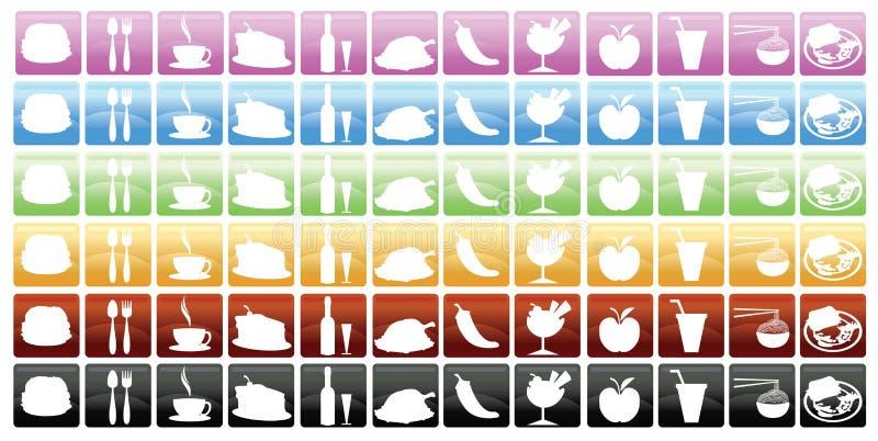 εικονίδια τροφίμων ποτών διανυσματική απεικόνιση