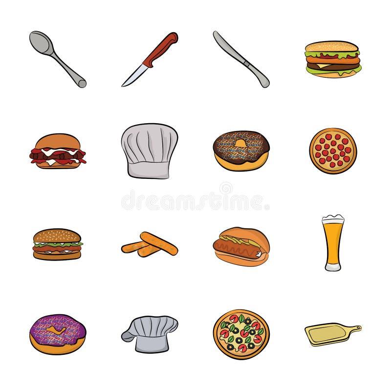 εικονίδια τροφίμων που τί&th διανυσματική απεικόνιση