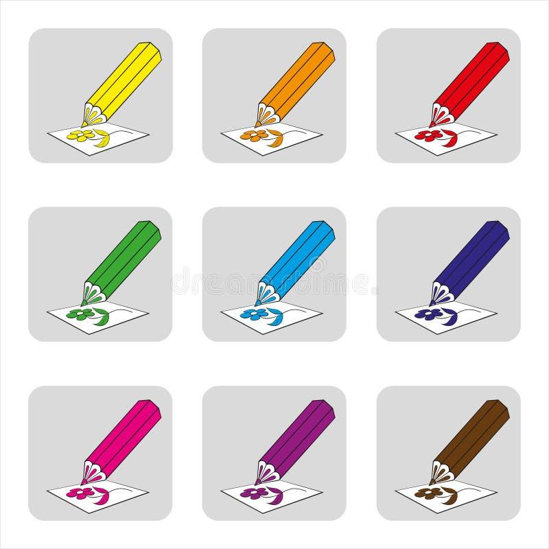 Εικονίδια των χρωματισμένων μολυβιών, μολύβια για το πολύχρωμο εργαλείο σχεδίων για την έγχρωμη εικονογράφηση απεικόνιση αποθεμάτων