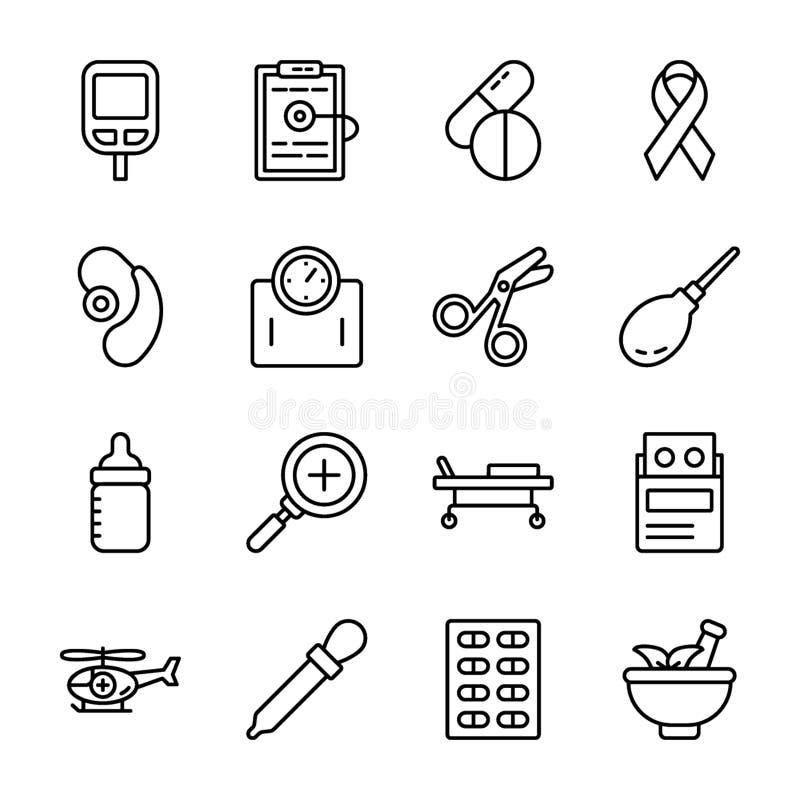 Εικονίδια υγειονομικής περίθαλψης και φαρμάκων ελεύθερη απεικόνιση δικαιώματος