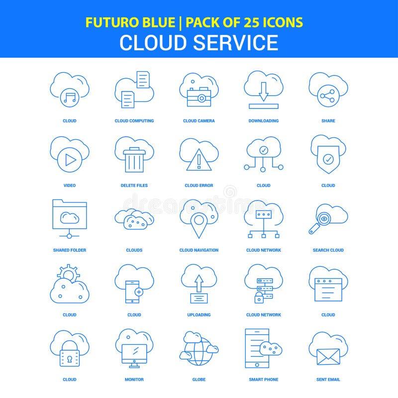 Εικονίδια υπηρεσιών σύννεφων - μπλε πακέτο 25 εικονιδίων Futuro διανυσματική απεικόνιση