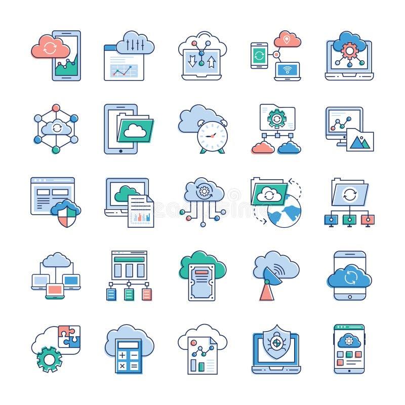 Εικονίδια υπηρεσιών σύννεφων διανυσματική απεικόνιση