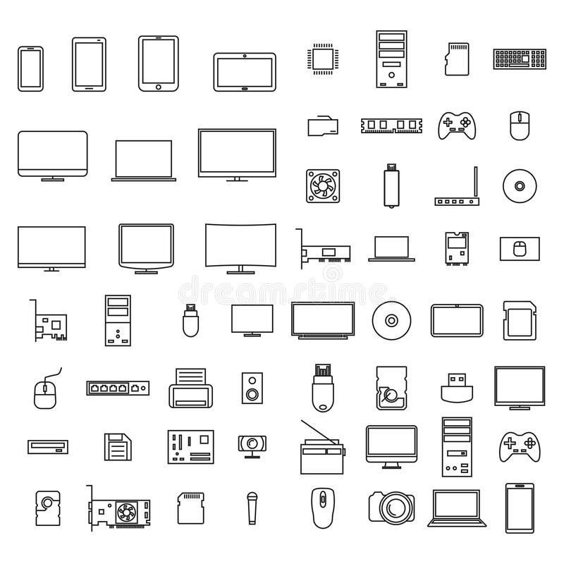 Εικονίδια υπολογιστών από τις λεπτές γραμμές, διανυσματική απεικόνιση διανυσματική απεικόνιση