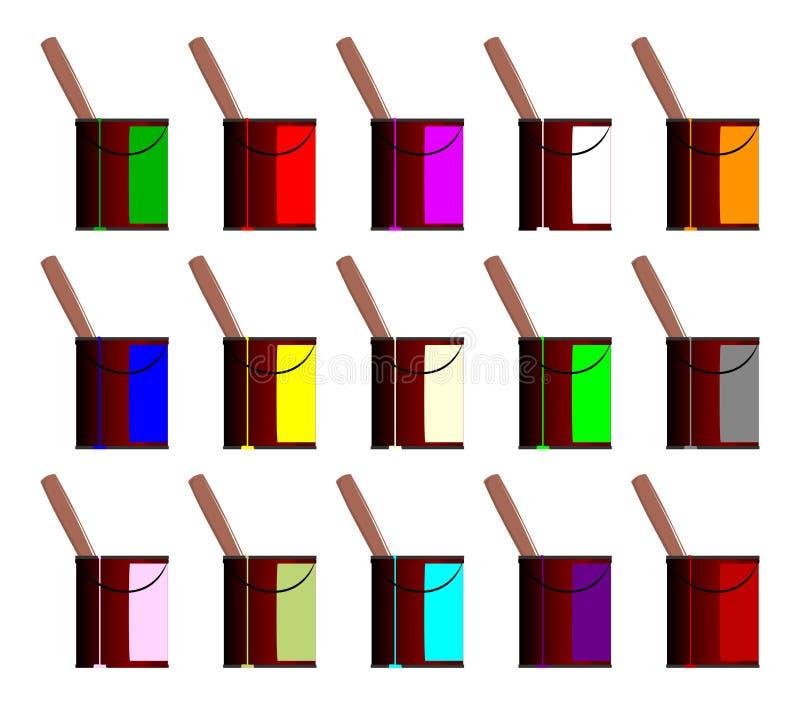 Εικονίδια υπολογιστών δοχείων χρωμάτων διανυσματική απεικόνιση