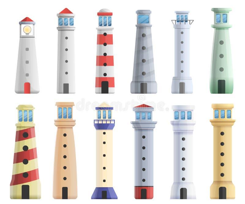 Εικονίδια φάρων καθορισμένα, ύφος κινούμενων σχεδίων απεικόνιση αποθεμάτων
